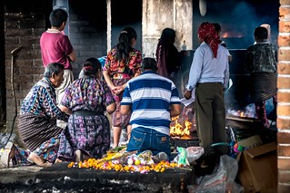 Día de los muertos: Mayan sacrifices to the gods and to the dead at the cemetery of Chichicastenango, Guatemala.