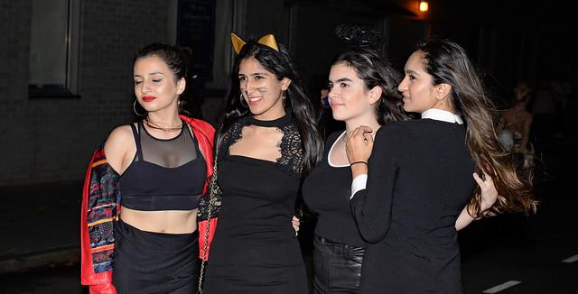 Young Women Enjoying the Night Out