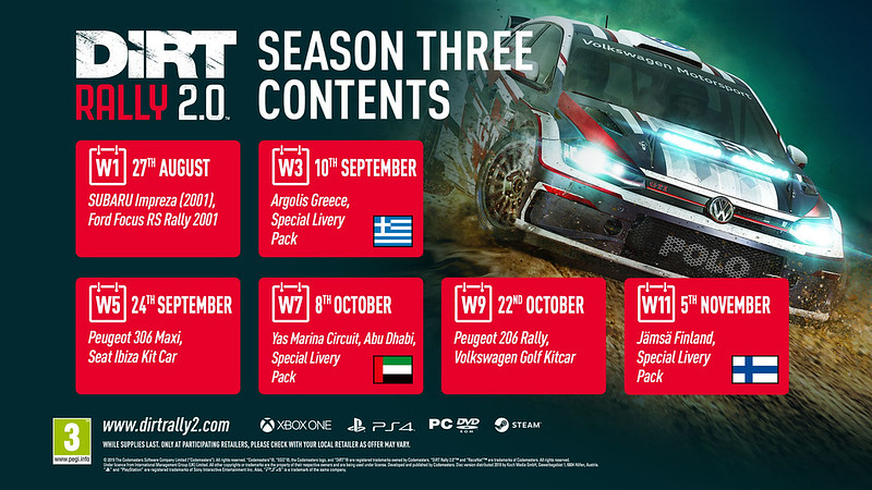 Dirt Rally 2 Season Three Schedule