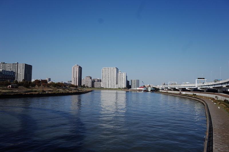 36浅草鐘ヶ淵詣で水神大橋の隅田川