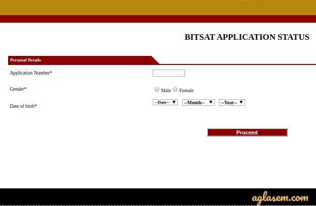 BITSAT Application Status login