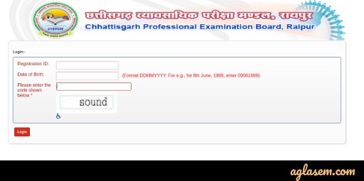 CG PAT 2020 Admit Card