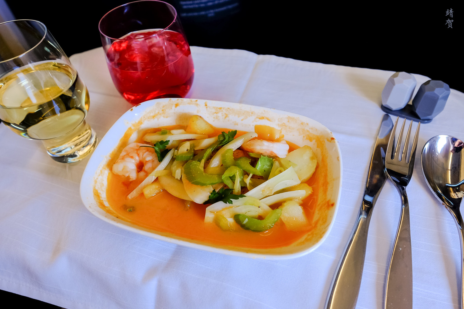 Bouillabaisse with fish, shrimp fennel and celery