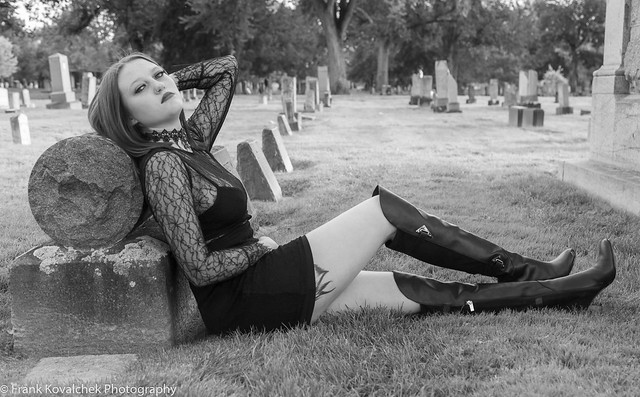 Relaxing in a cemetery