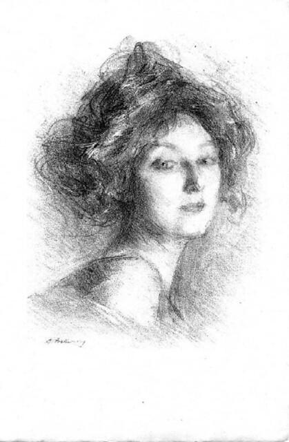 Belleroche, Albert - Etude. Tête de femme... Litografia, 19