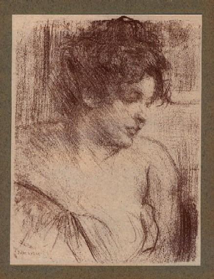 Belleroche, Albert - Etude. Portrait de femme... Litografia,