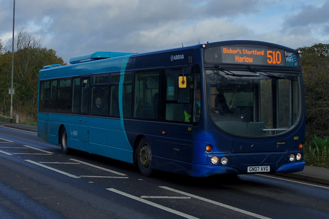 ReMAX: Arriva Harlow Volvo B7RLE/Wright Eclipse Urban GN07AVG (3820) Cambridge Road Stansted Mountfitchet 02/11/19