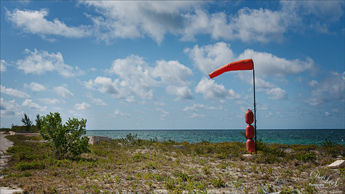 Image of a Spanish Cay runway marker in the Bahamas
