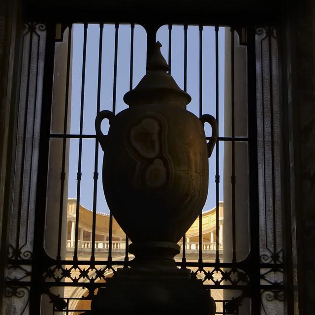 Ancient Roman stone carved amphora - Chiaramonti Museum, Musei Vaticani, Vatican City, Rome.