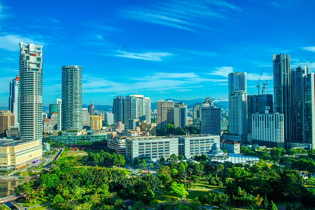 Morning view of KLCC park and surrounding buildings in Kuala Lumpur, Malaysia