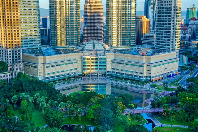 KLCC park and Suria KLCC in the morning in Kuala Lumpur, Malaysia