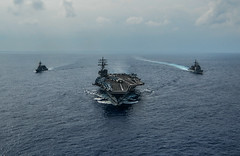 USS Ronald Reagan (CVN 76), USS Chancellorsville (CG 62) and JS Fuyuzuki (DD 118) sail in formation, Oct. 27. (U.S. Navy/MC3 Codie L. Soule)