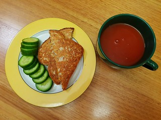 Tomato Soup with Cheese Toastie