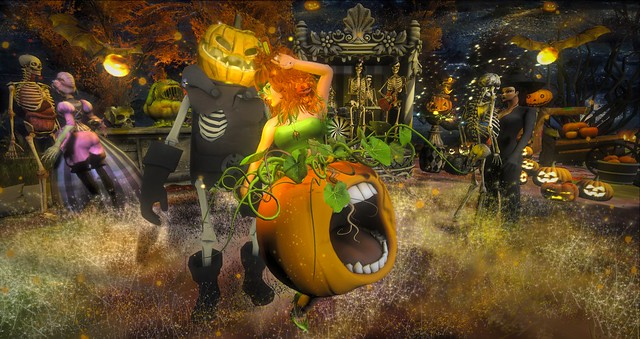 Dancing with my favorite pumpkin head at the Halloween Hop