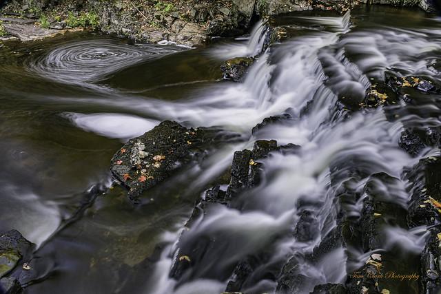 Long exposure of the Black Slate Falls in Baraga County, Michigan