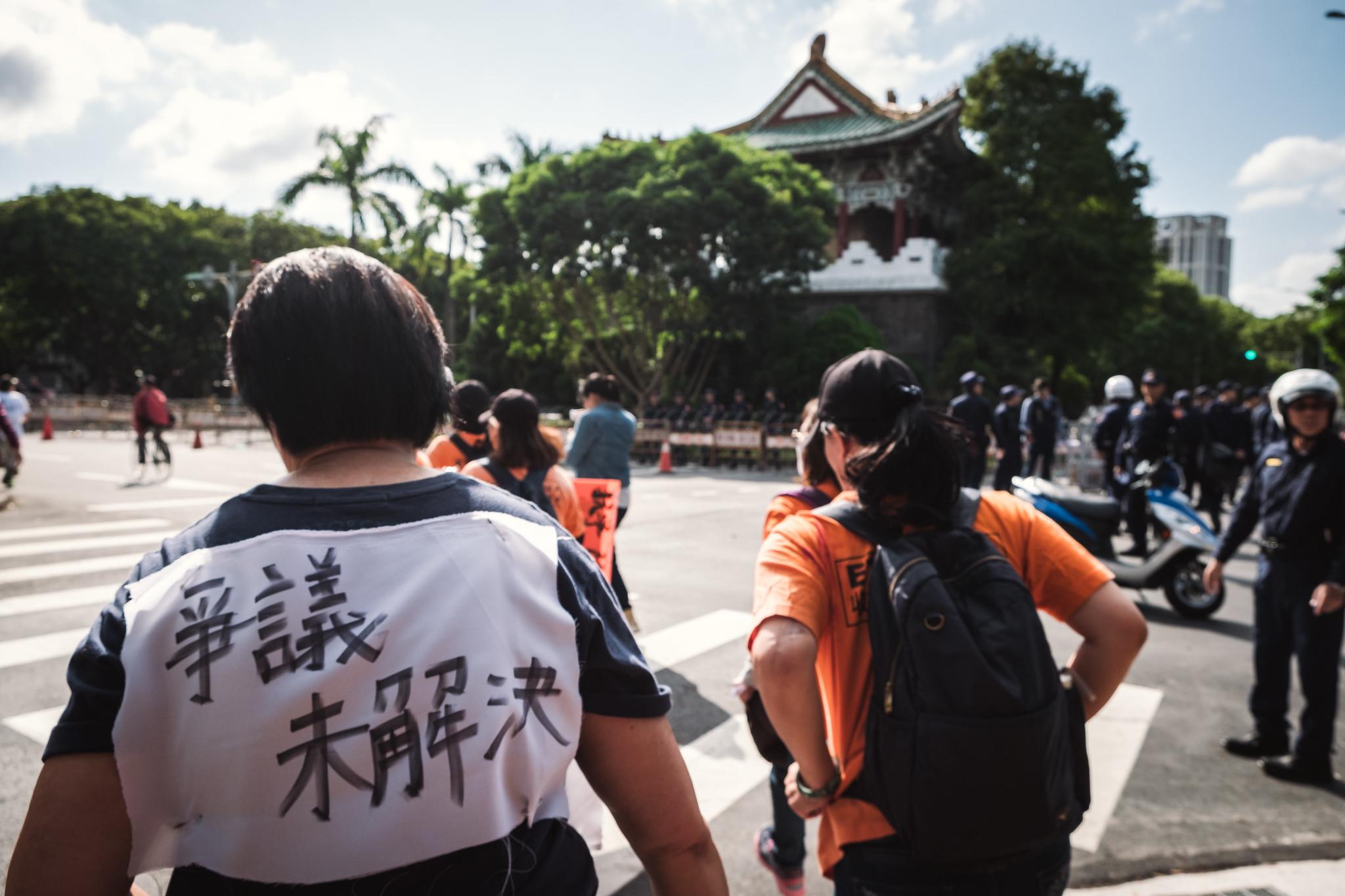 因收費員途經總統官邸,大量警力已部署於官邸周圍。(攝影:唐佐欣)