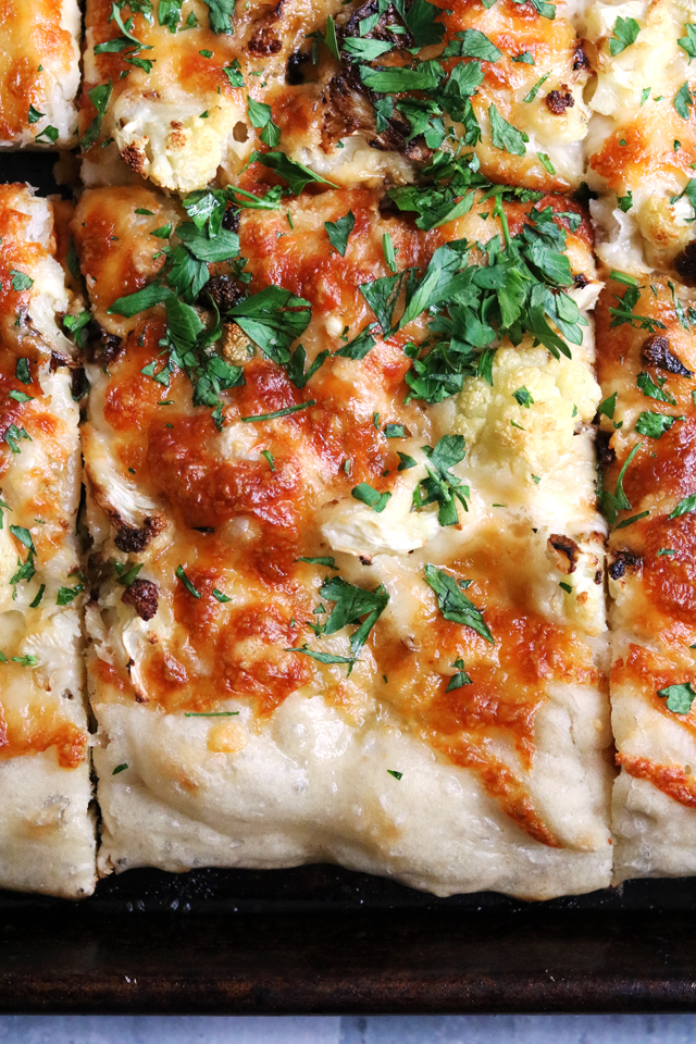 roasted cauliflower and cheese pizza al taglio