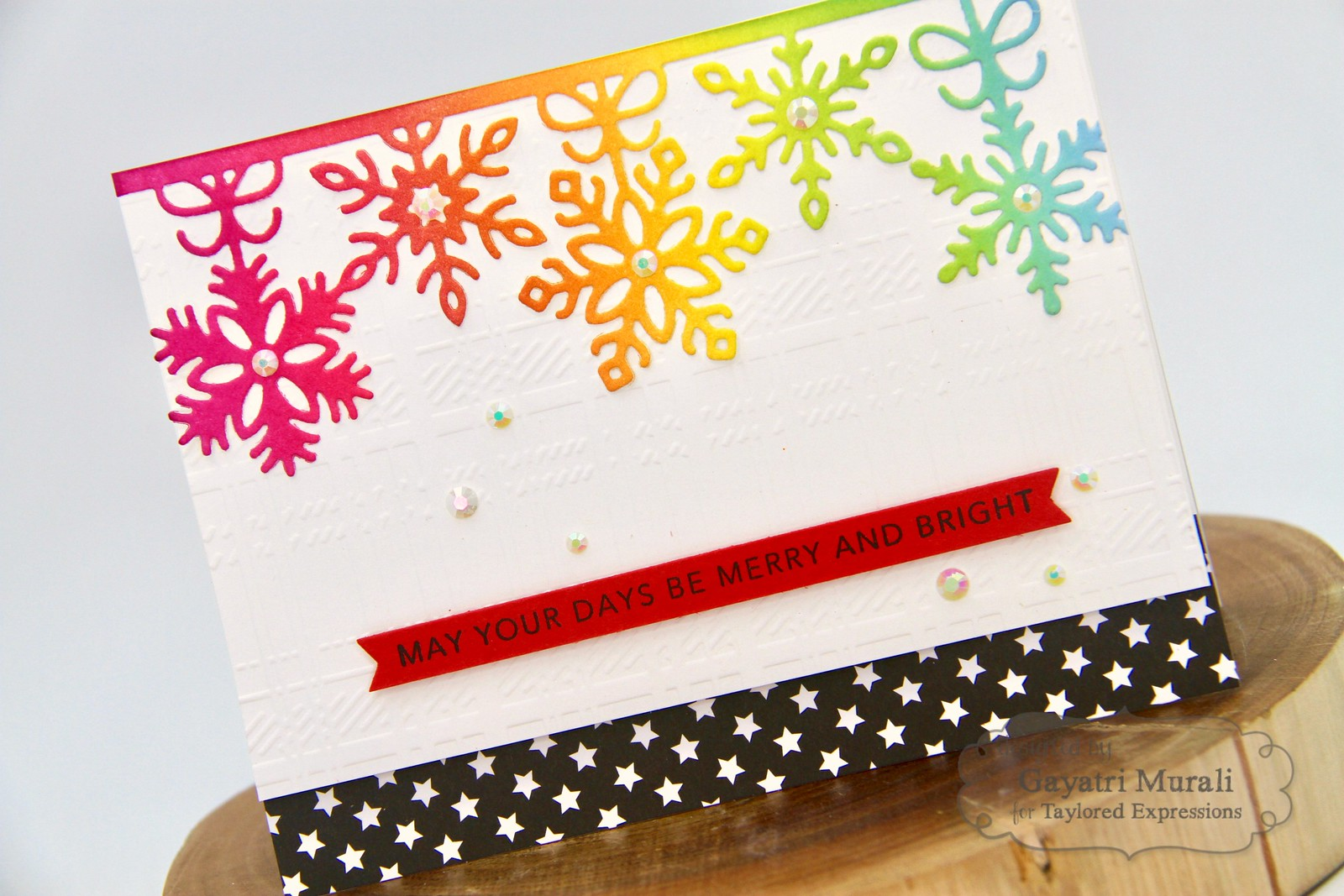 TE Rainbow Christmas card #2 closeup