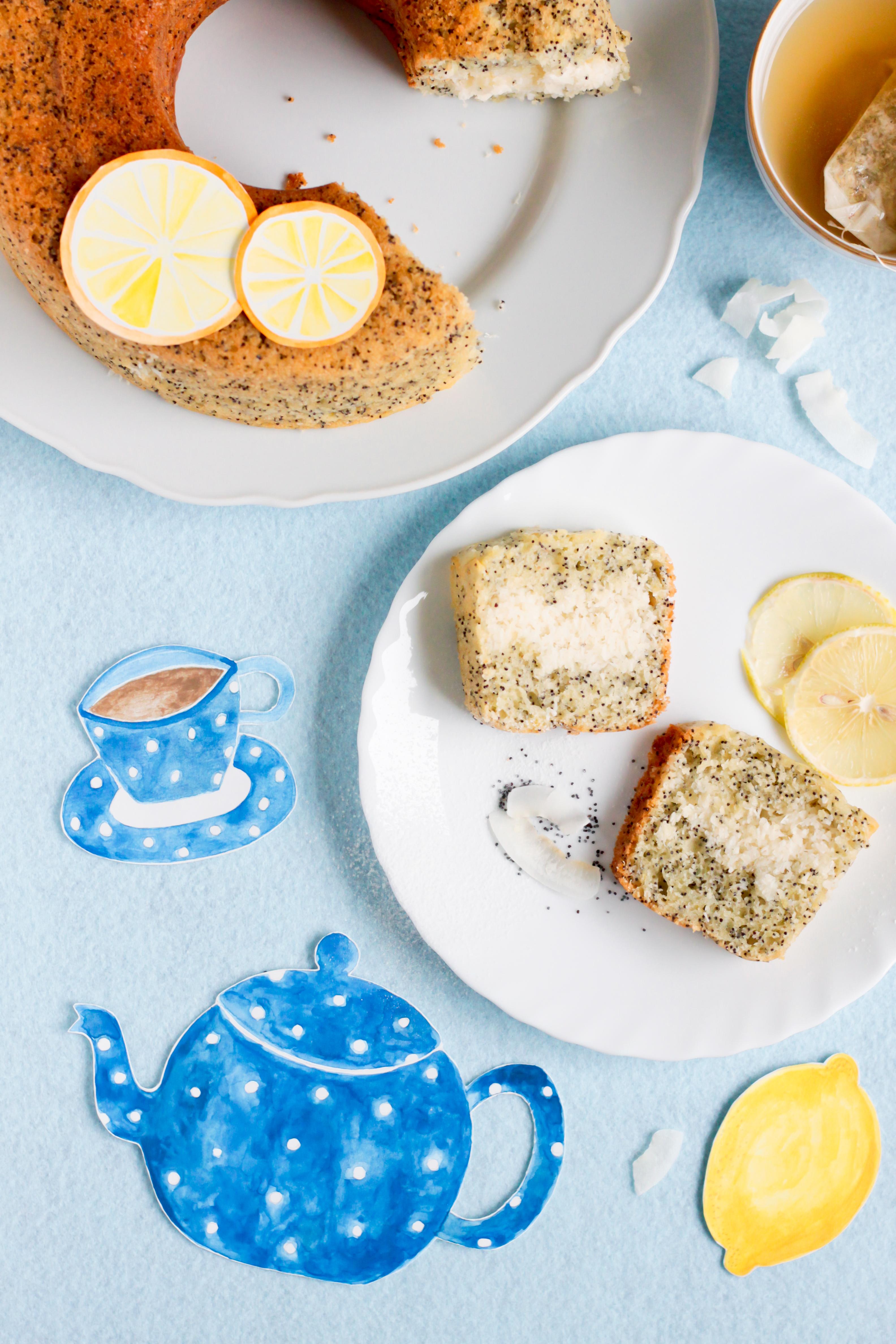 torta limone e semi di papavero, con ripieno al cocco