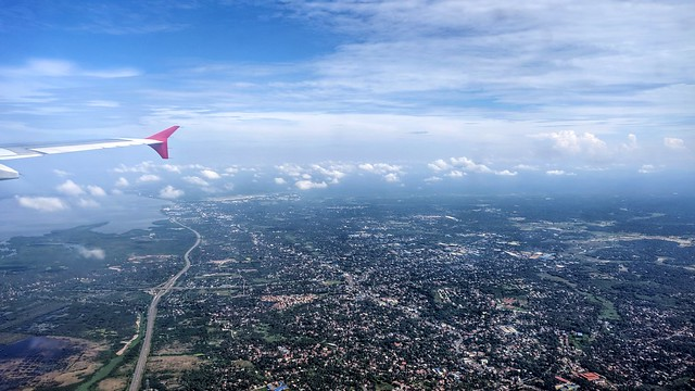 Turning to Land from Lagoon Side of Airport in Sri Lanka