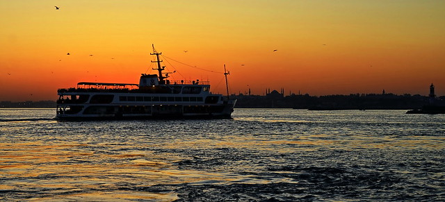 Ferry in sunset / Istanbul