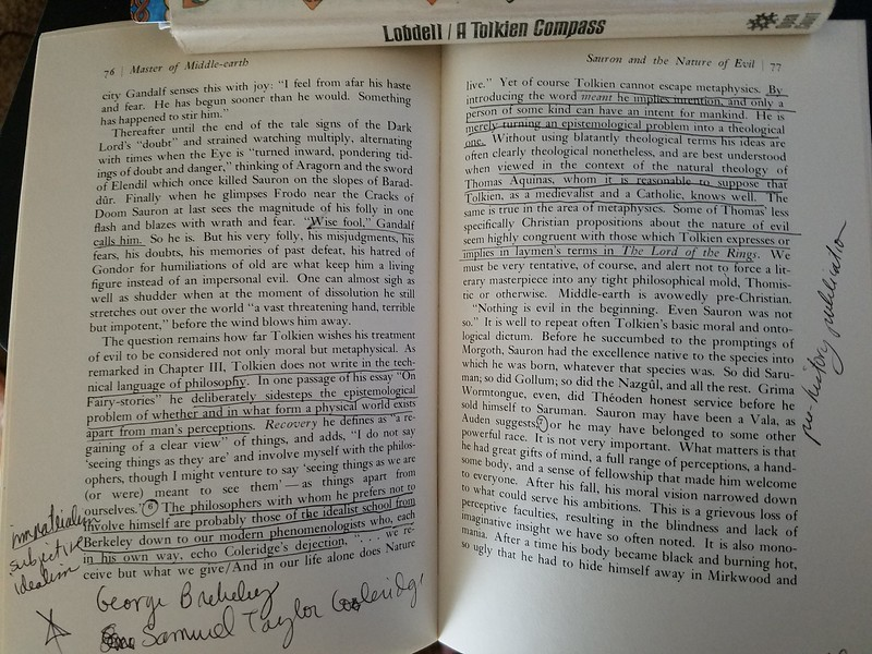 Master of Middle-Earth Chapter IV Sauron and the Nature of Evil pp. 76-77 With my handwritten notes and underlining.