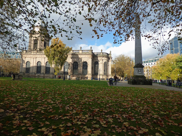 St Philip's Cathedral Birmingham and the Burnaby Obelisk from Temple Row
