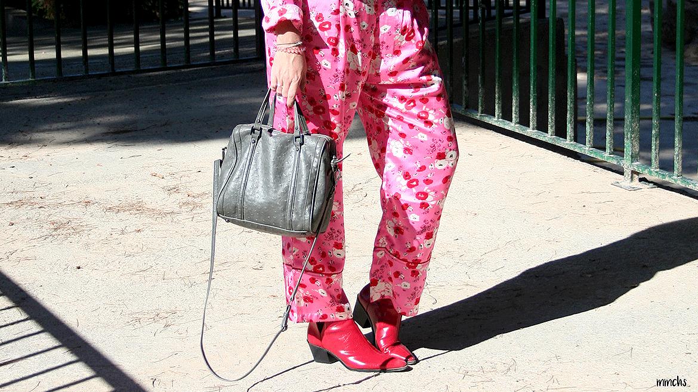 Pantalones de raso flores lenceros mujer
