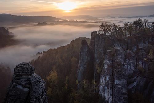 sachsen saxony bastei felsen rocks sigma 40mm nikon d810 sonnenaufgang sunrise nebel fog stimmung mood licht light