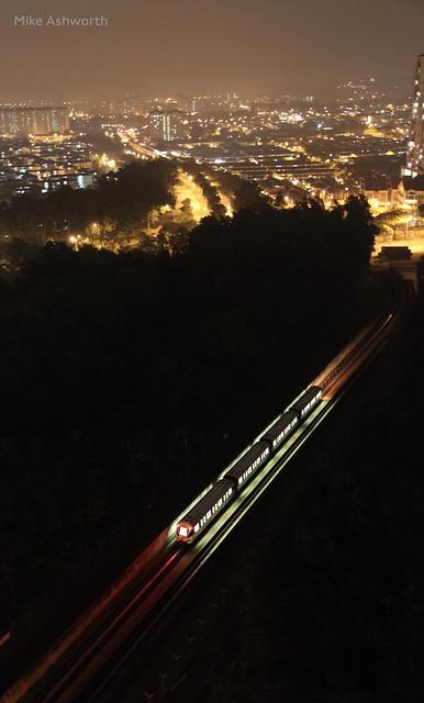 A night view of Kuala Lumpur, Malaysia - KJ train heading to Gombak terminus, 4 November 2014