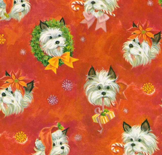 Vintage Hallmark Christmas Wrapping Paper - Shaggy Dogs - 1960s 1970s