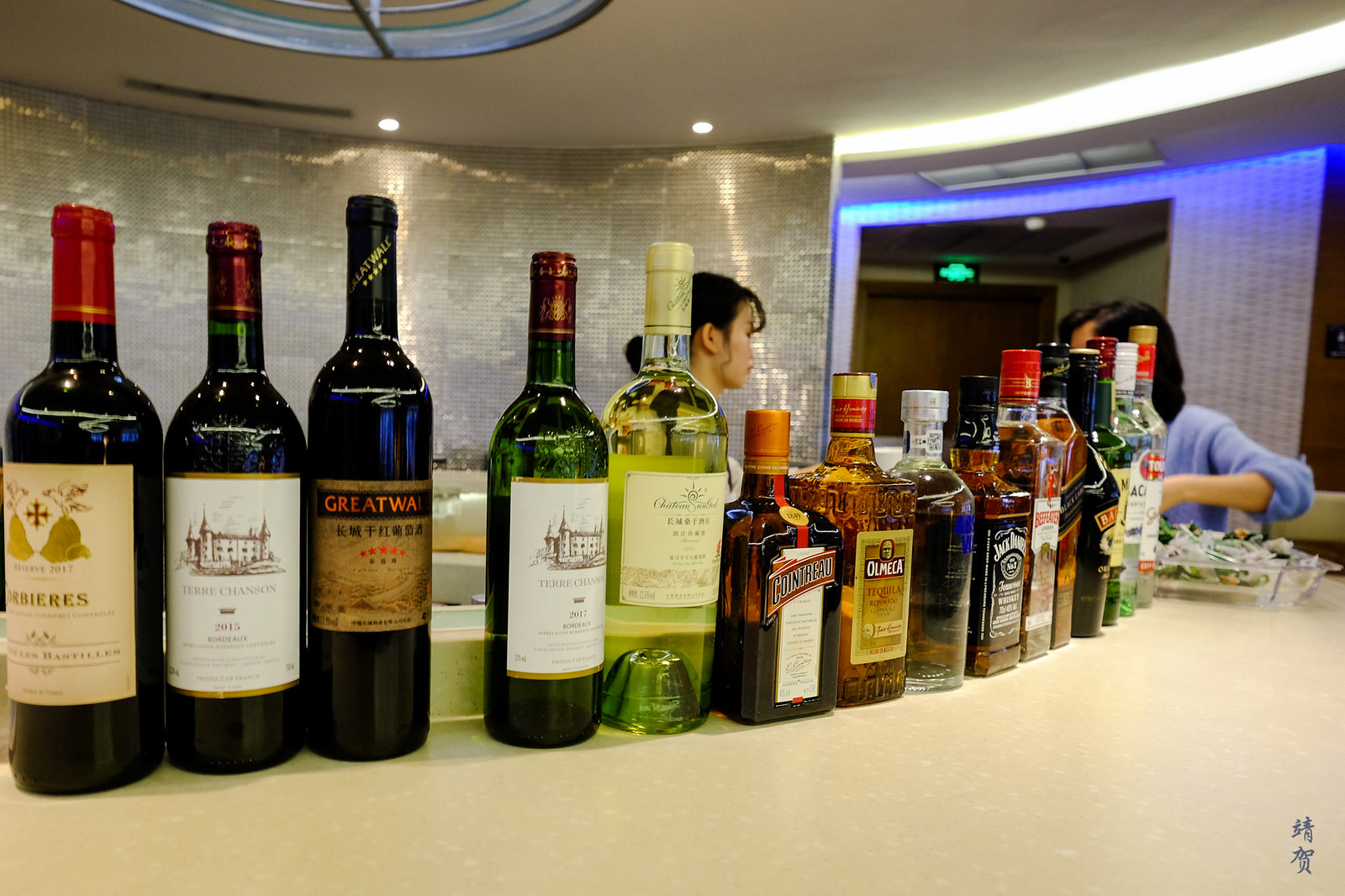 Wines and liquor in the bar
