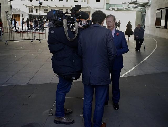 Nigel Farage at the BBC, General Election 2019, London, November 2019