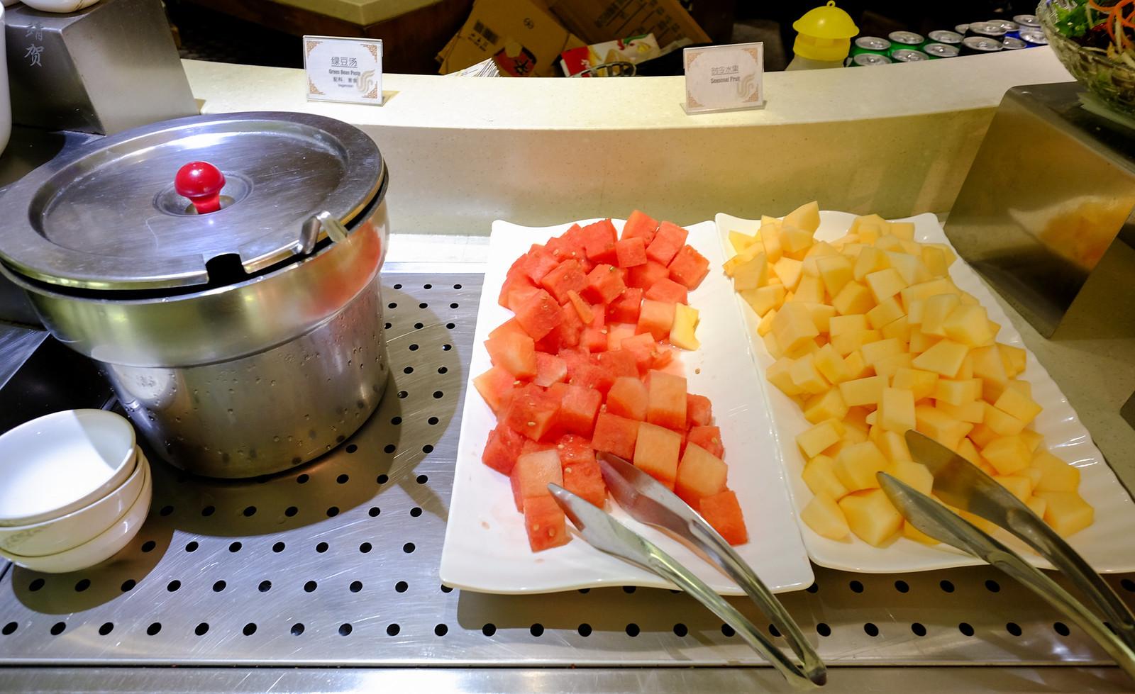 Watermelon, honeydew and green bean paste