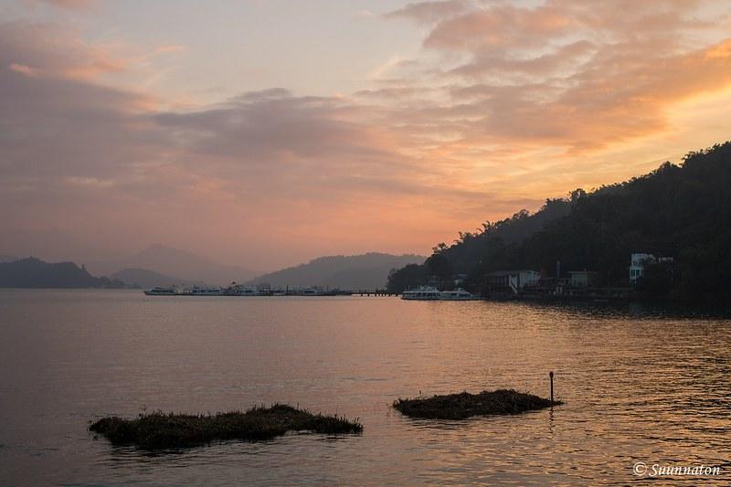 Taiwan, Sun Moon Lake, auringonlasku