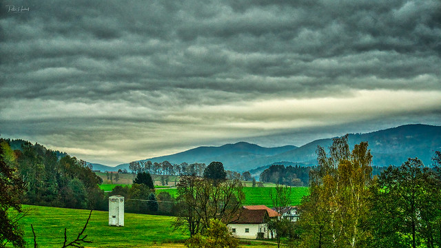 view over the rainy bavarian forest