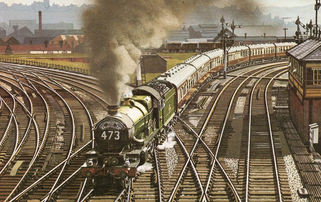 UK - ''Castle'' class 4-6-0 winds its way round the curve at Dr Day's Bridge Junction as it leaves Bristol for Paddington.