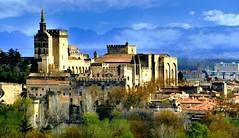 Avignon (Vaucluse, Provence, Fr) – Le Palais des Papes vu de Villeneuve-lez-Avignon