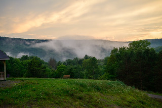 view from cain hollow cabin after rain storm