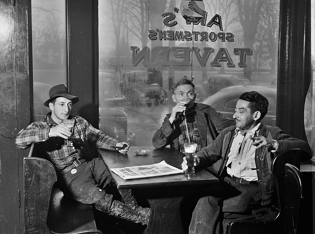 Elbow Benders: Having a beer in Art's Sportsman's Tavern on a rainy day in Colchester, Connecticut. November 1940.