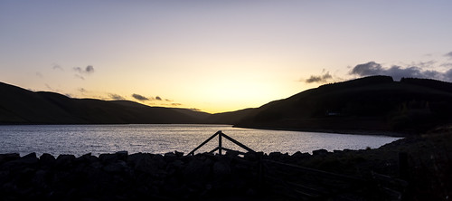 sunset waterscape megget reservoir hills