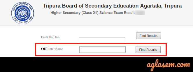 TBSE HS Result 2020 name-wise