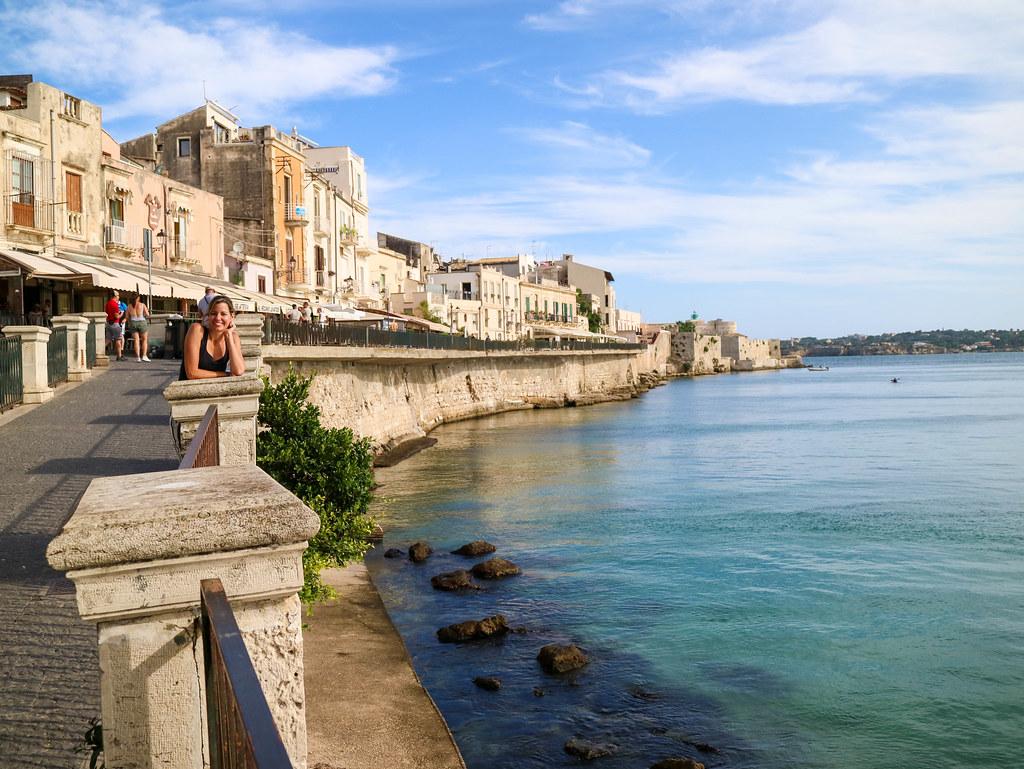 Costa de Isla Ortigia en Sicilia