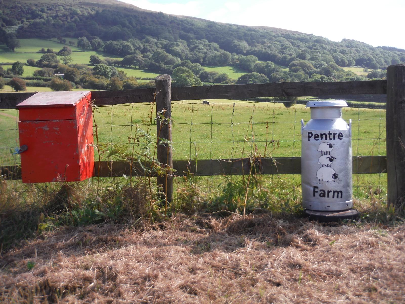 Pentre Farm Postbox, Ysgyryd Fawr in background SWC Walk 347 - Llanvihangel Crucorney Circular (via Bryn Arw and The Skirrid)