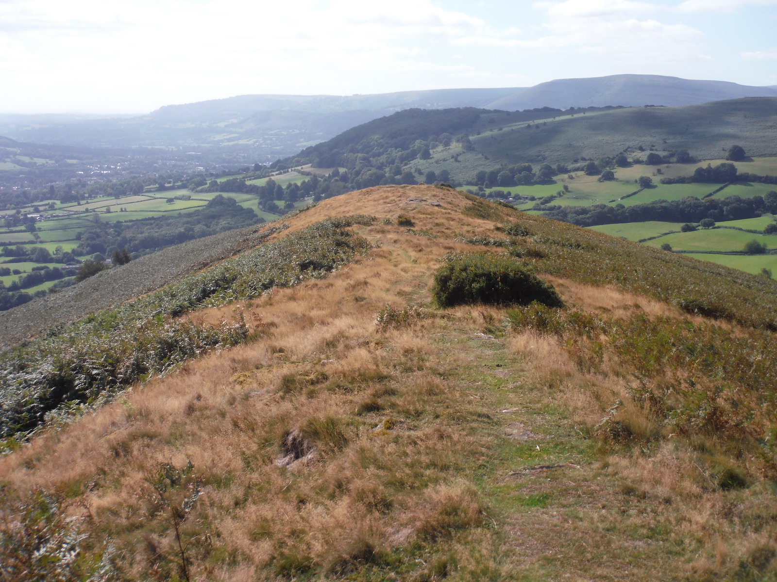 View down Bryn Arw ridge towards Deri and Blorenge SWC Walk 347 - Llanvihangel Crucorney Circular (via Bryn Arw and The Skirrid)