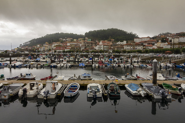Small port in rainy day