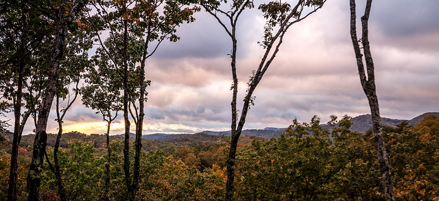 Fall sunset in Blue Ridge Mountains