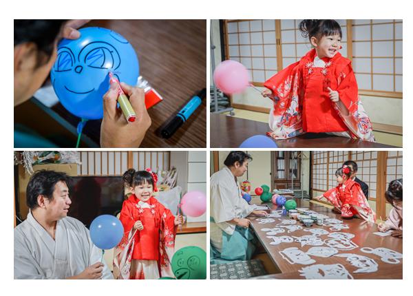景行天皇社 宮司さんによる切り絵・風船・お茶碗のプレゼント(愛知県長久手市)