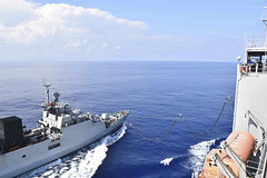 The Indian Navy corvette INS Kiltan (P 30) steams alongside USNS Richard E. Byrd (T-AKE 4) in the South China Sea, Nov. 1. (U.S. Navy/Steven Santos)