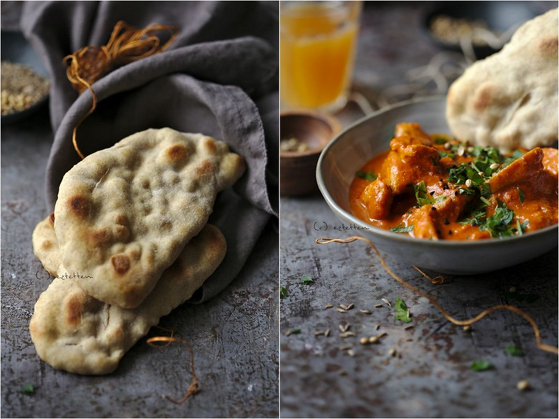 indian butter chicken with beer naan